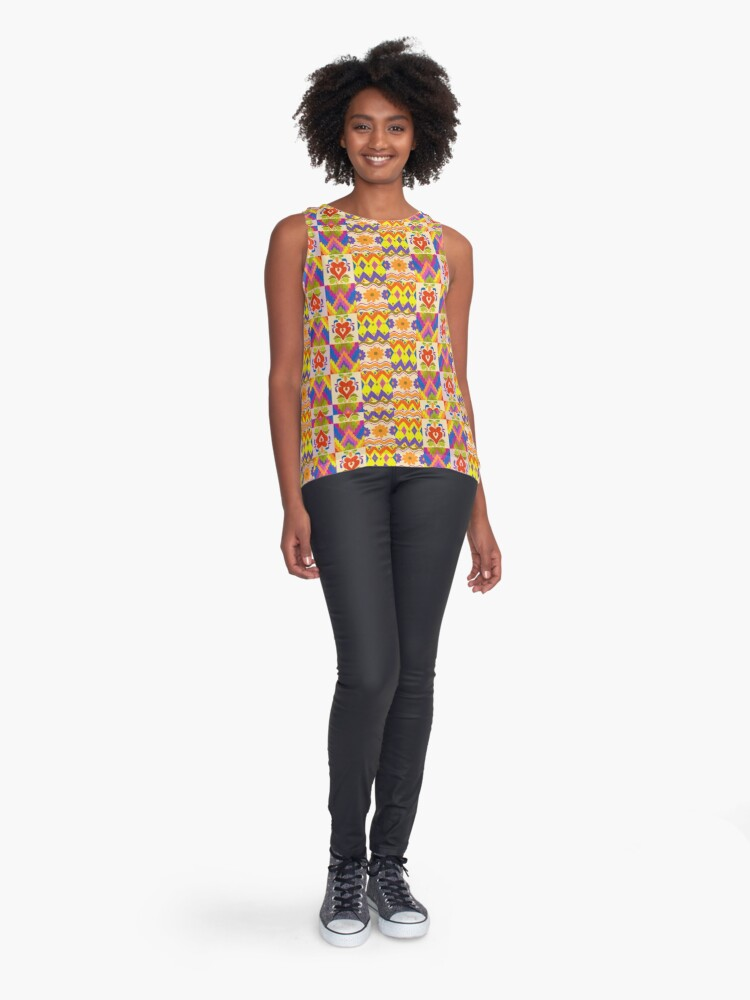 Alternate view of Decorative Ikat Pattern Sleeveless Top