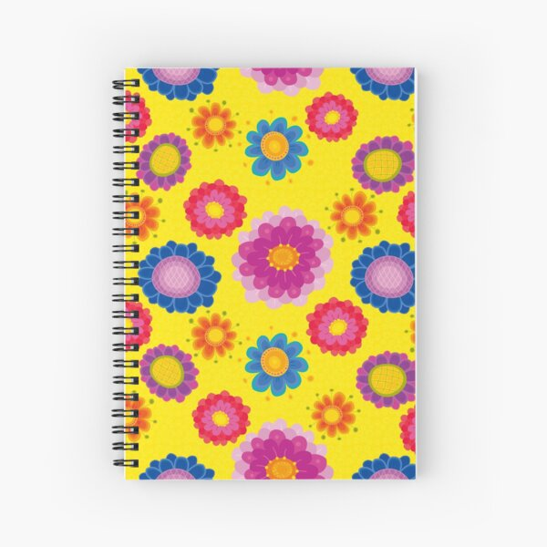 Yellow Floral Pattern Spiral Notebook