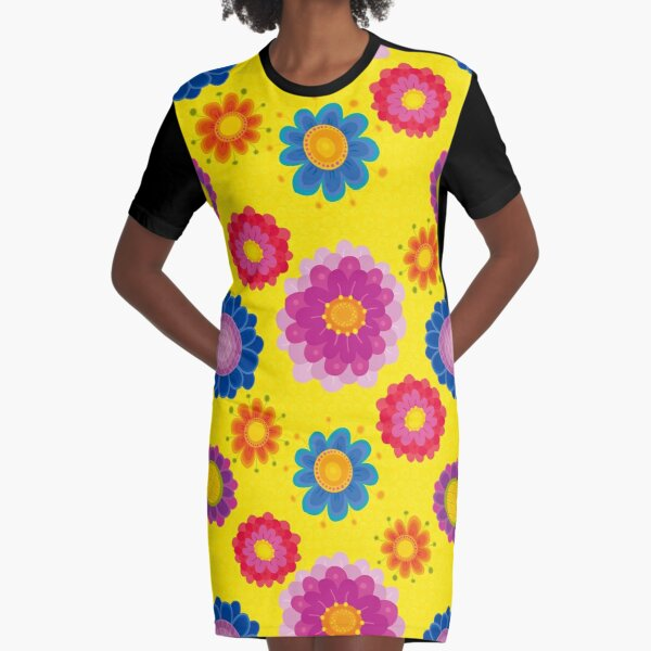 Yellow Floral Pattern Graphic T-Shirt Dress