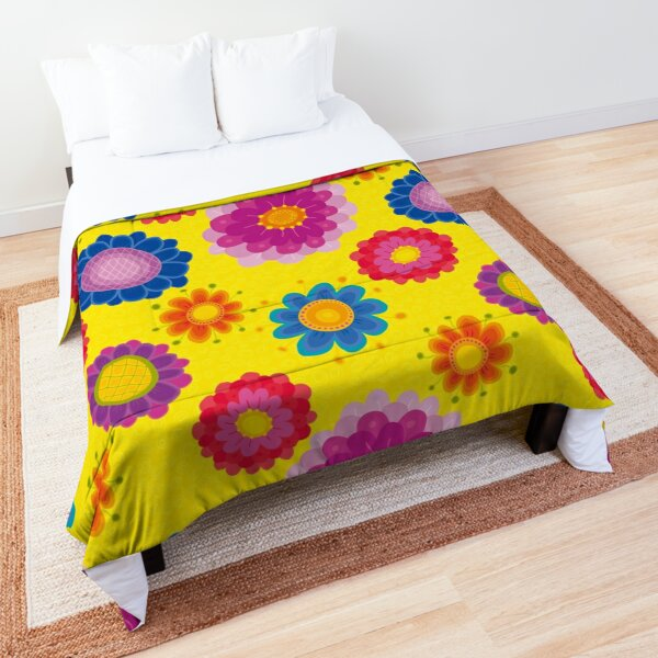 Yellow Floral Pattern Comforter
