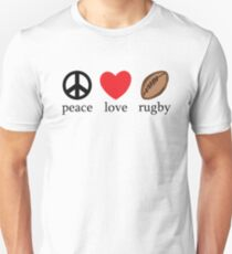"Rugby ""Peace Love Rugby"" Unisex T-Shirt"