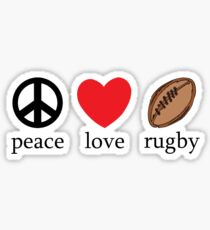 """Rugby """"Peace Love Rugby"""" Sticker"""