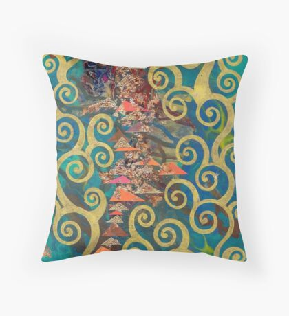 Gold Spiral Trees Against Turquoise Background Throw Pillow