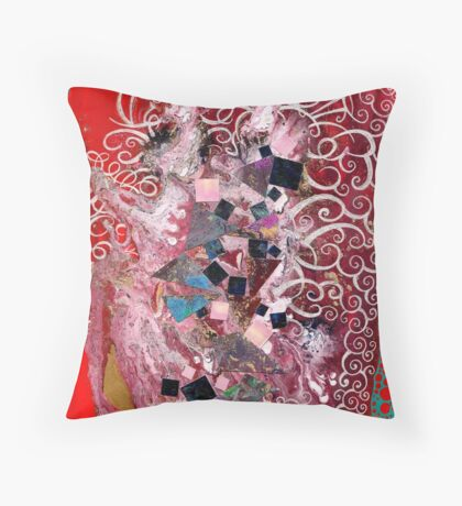 Debris and White Slick against blood-red blackground Throw Pillow