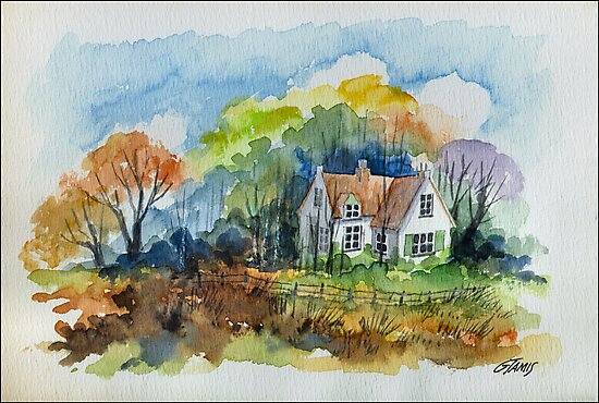 THE HOUSE OF THE FORESTER - AQUAREL by RainbowArt