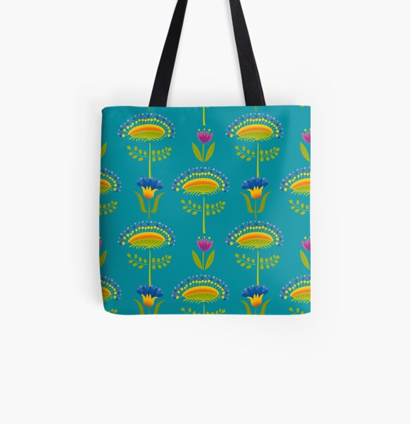 Floral Pattern All Over Print Tote Bag