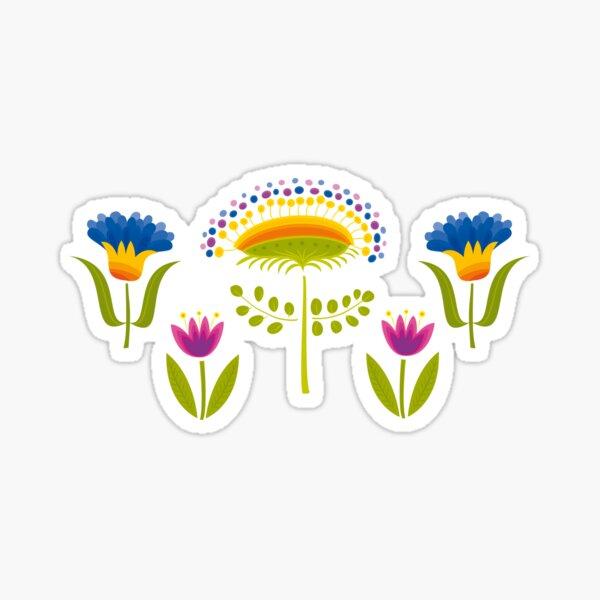 Floral Pattern Glossy Sticker