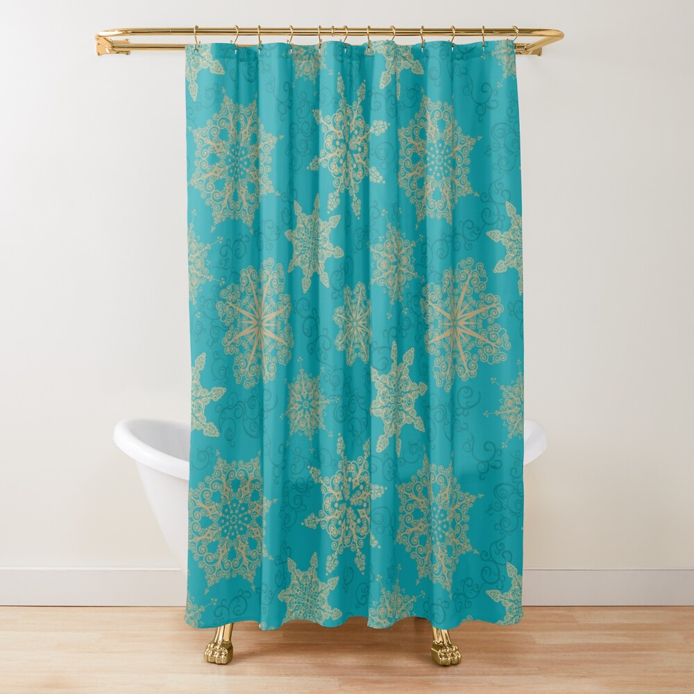 Golden Snowflakes Shower Curtain