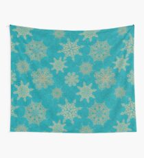 Golden Snowflakes Wall Tapestry
