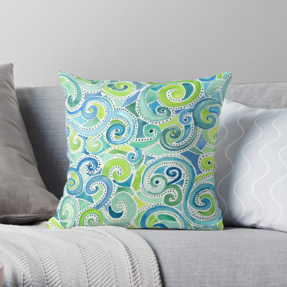 Swirly Spiral Watercolor Throw Pillow