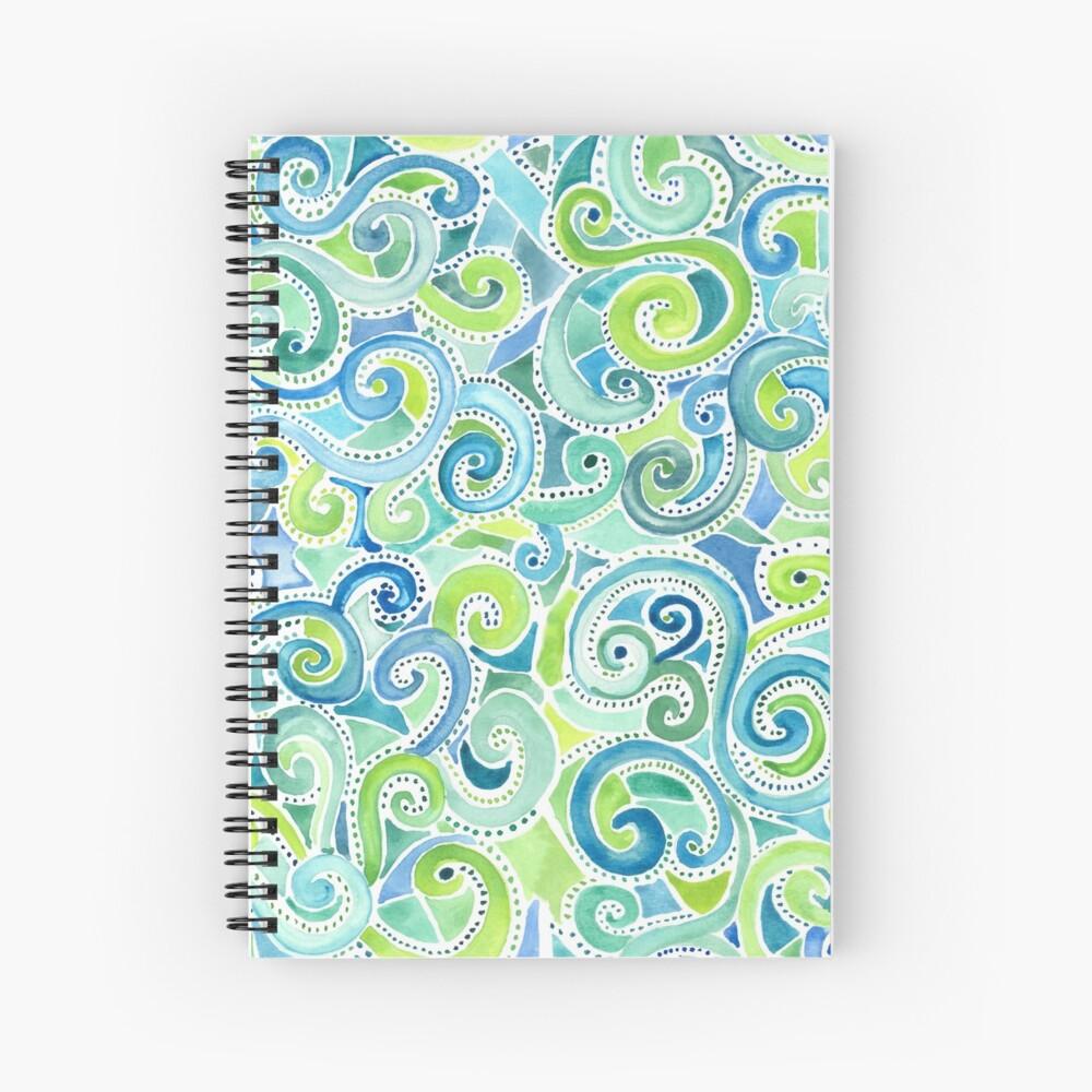 Swirly Spiral Watercolor Spiral Notebook