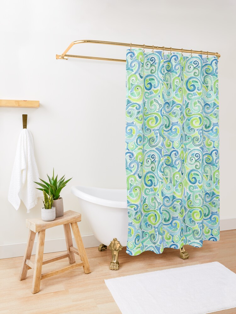 Alternate view of Swirly Spiral Watercolor Shower Curtain