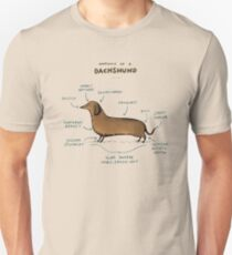 Camiseta unisex Anatomía de un Dachshund