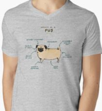 Anatomy of a Pug Men's V-Neck T-Shirt