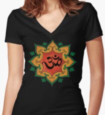 Om India, Hindu, Hinduism Fitted V-Neck T-Shirt