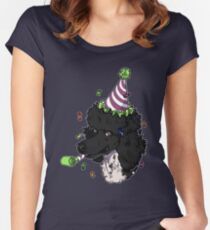 Black Parti Poodle Women's Fitted Scoop T-Shirt