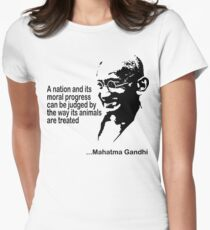 Animal Rights Mahatma Gandha Womens Fitted T-Shirt