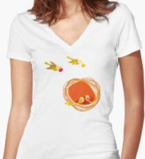 Autumn. Bird Family Fitted V-Neck T-Shirt