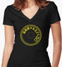 Camera Mode Dial Women's Fitted V-Neck T-Shirt