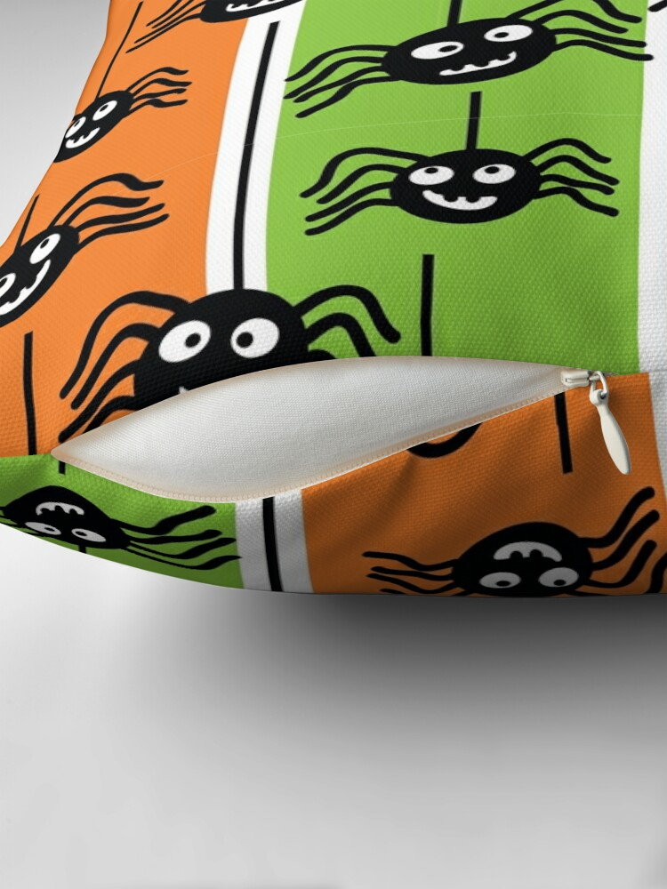 Alternate view of  Halloween Spiders Dangling Orange and Green Floor Pillow
