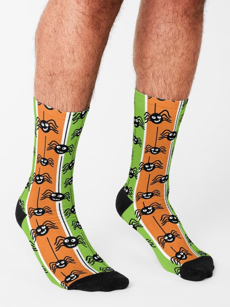 Alternate view of  Halloween Spiders Dangling Orange and Green Socks