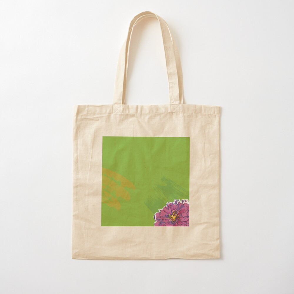 Purple Flower on Green Cotton Tote Bag