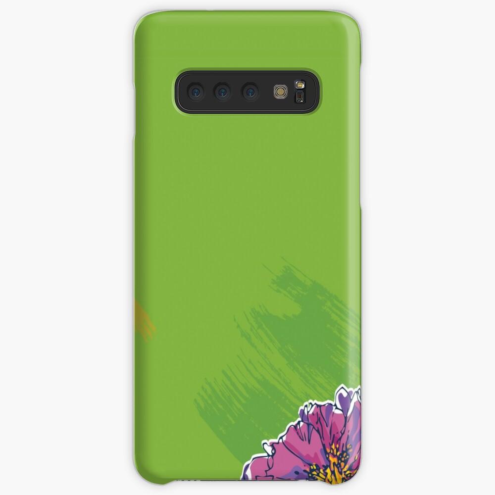 Purple Flower on Green Samsung Galaxy Snap Case