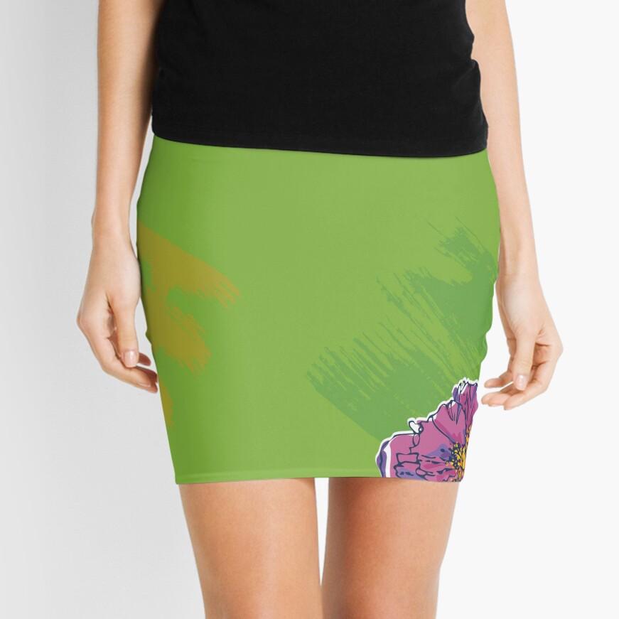 Purple Flower on Green Mini Skirt