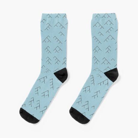 Tree diagram socks - light blue and black Socks