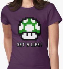 Mario Mushroom Get A Life Womens Fitted T-Shirt