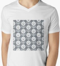 Cool Grey Fun Smiling Cartoon Flowers T-Shirt