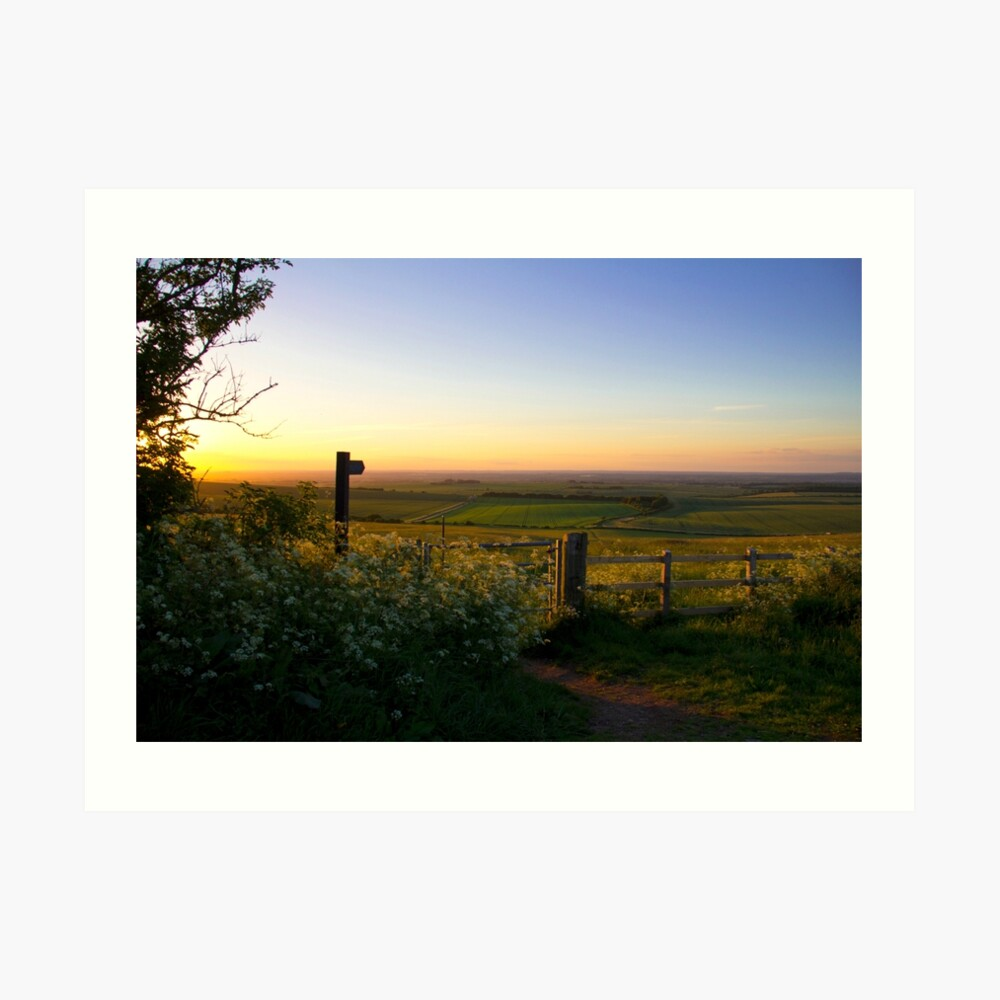 Oxfordshire at sunset from the Downs Art Print