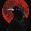 Crow And Red Moon Glow by gothicolors