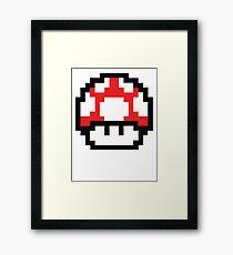 8-Bit Mario Nintendo Mushroom Red Framed Print