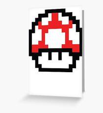 8-Bit Mario Nintendo Mushroom Red Greeting Card
