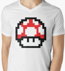 8-Bit Mario Nintendo Mushroom Red Men's V-Neck T-Shirt