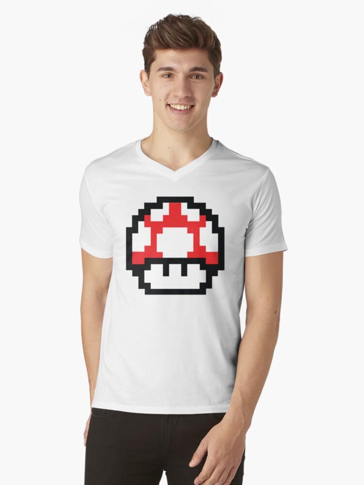 8-Bit Mario Nintendo Mushroom Red Mens V-Neck T-Shirt Front