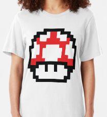 8-Bit Mario Nintendo Mushroom Red Slim Fit T-Shirt