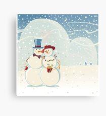 Snowmen Love Metal Print