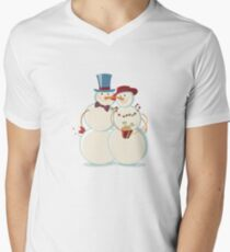 Snowmen Love V-Neck T-Shirt