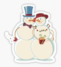 Snowmen Love Glossy Sticker