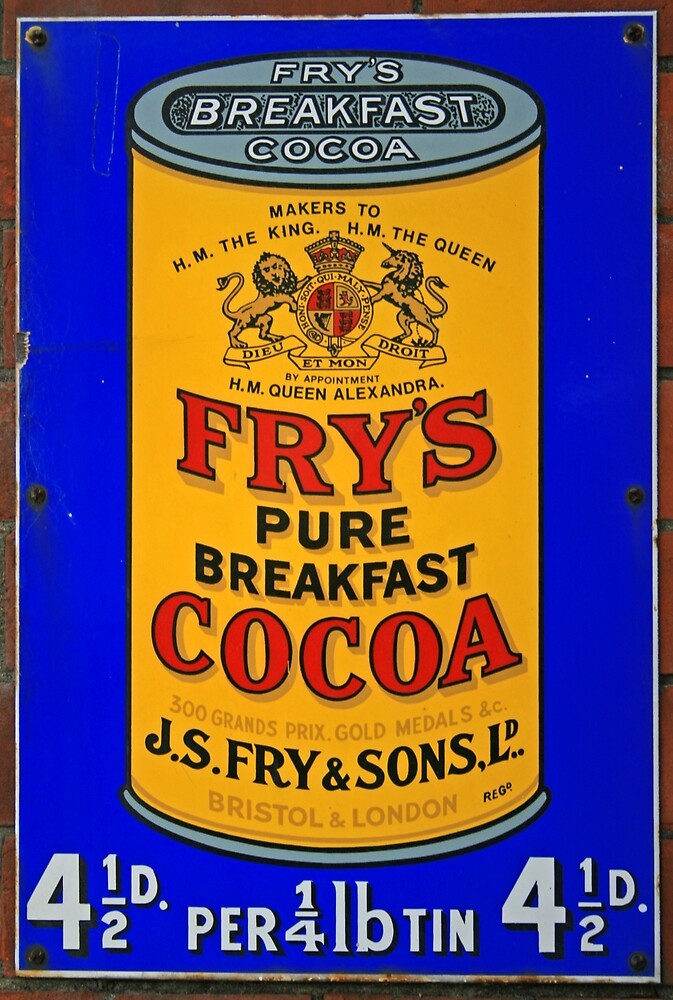 Tin Plate Sign - Fry's Breakfast Cocoa by RedHillDigital