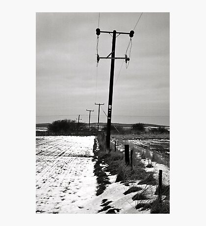 Pylons in the snow  Photographic Print
