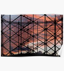 Sunset through Gasometer Gillingham Kent Poster