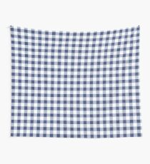 Blue Gingham Pattern Wall Tapestry
