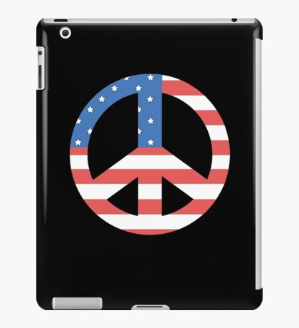 Peace Symbol with American Flag T-Shirt iPad Case/Skin