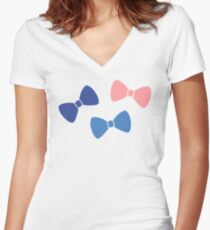 Vintage Pastel Bows Women's Fitted V-Neck T-Shirt