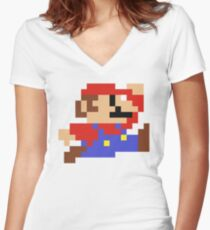 8-Bit Mario Nintendo Jumping Women's Fitted V-Neck T-Shirt
