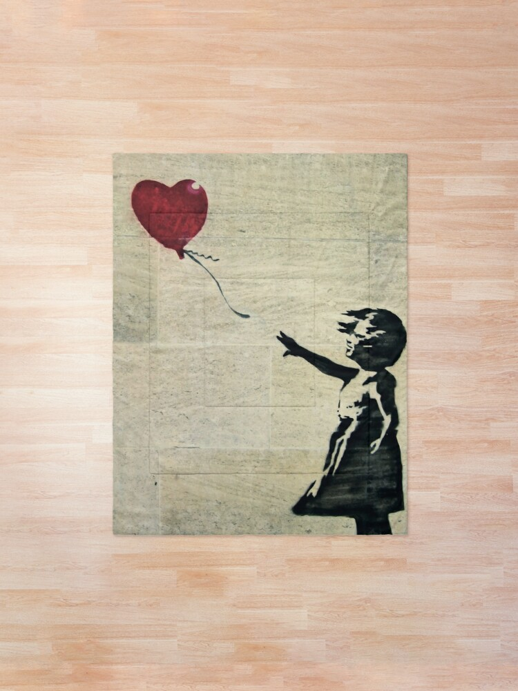Alternate view of Banksy's Girl with a Red Balloon III Comforter