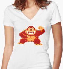 8-Bit Nintendo Donkey Kong Gorilla Women's Fitted V-Neck T-Shirt